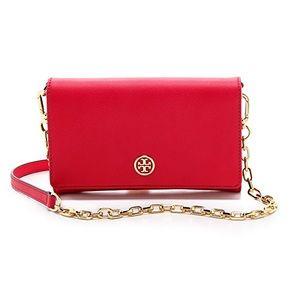 Tory Burch Red Robinson Chain Wallet Purse Bag
